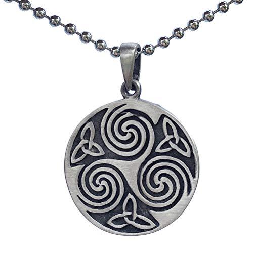 Viking Druid Norse Celtic Jewelry Trinity Triple Triquetra Triskele Trikelion Pewter Unisex Men Women Pendant Necklace Lucky Charm Protection Amulet Wealth Travel Talisman Medallion Silver Ball Chain