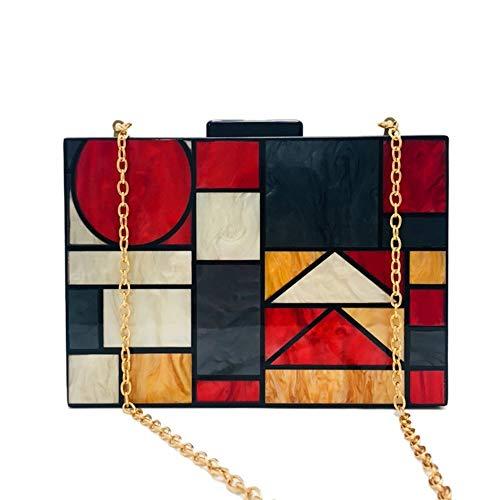 Lxc Vintage Farbe Geometrisches Muster Acryl Damen-Handtasche Im Freien Einkauf Box Schulter Messenger Bag Hochzeit Abendessen-Beutel (20.5 * 5 * 14.5CM) edel