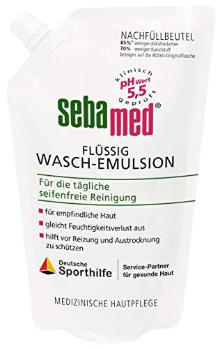 Sebamed Flüssig Wasch-Emulsion Nachfüllbeutel 400 ml, seifenfreie Reinigung für empfindliche und problematische Haut, mit besonders milden Waschaktivsubstanzen