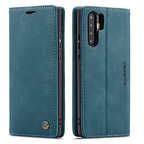 QLTYPRI Hülle für Huawei P30 Pro, Vintage Dünne Handyhülle mit Kartenfach Geldtasche Standfunktion PU Ledertasche TPU Bumper Flip Schutzhülle Kompatibel mit Huawei P30 Pro - Blau