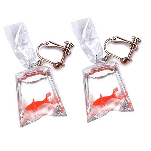 Sevenfly Goldfisch Ohrringe Wasser Tasche Form baumeln Haken Ohrringe Charme Schmuck Geschenk Ohrringe für Frauen Mädchen (rot Ohrclip)
