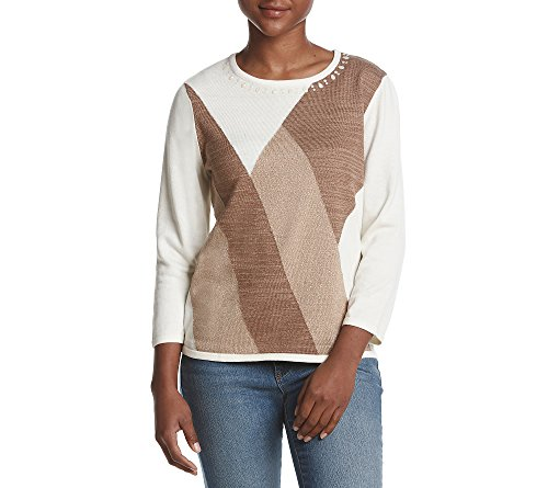 Alfred Dunner Petites' Classic Colorblock Sweater Ivory Taupe Petite Medium