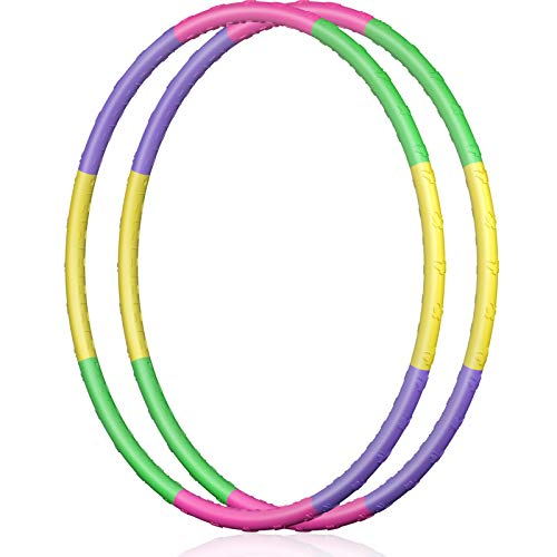 2 Pack Hoola Hoops Kids  Detachable Weighted Hoola Hoop Toys for Kids Size Adjustable Butterfly Design Hula Hoop Kids Party Games Gymnastics Dog Agility Equipment Thanksgiving Christmas Decor