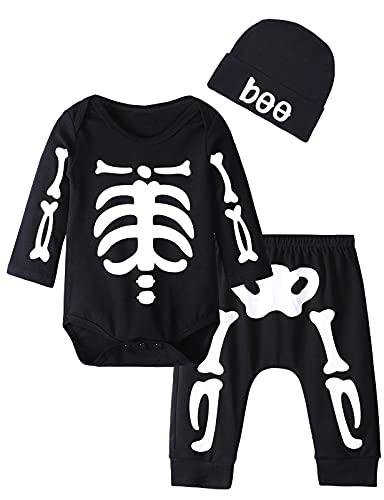 MOMBEBE COSLAND Bebé Halloween Ropa Esqueleto Niño Pequeño Conjunto de Pantalones de Manga Larga 0 meses Negro