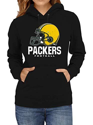 Shirt Happenz Packers Football Green Bay Pack Football Premium Hoodie Frauen Kapuzenpullover, Größe:XXL, Farbe:Schwarz