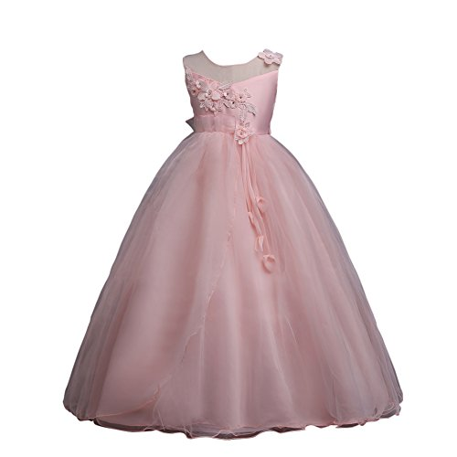 VLUNT Vestido Elegante Tul sin Mangas para Niña - 6 Colores, 5-16 años