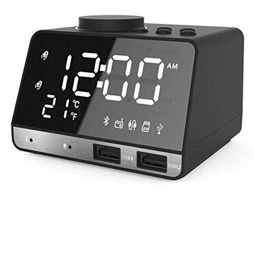 Altavoz Bluetooth inalámbrico Radio FM Espejo LED Cargador USB Dual Reloj Despertador, Reloj Despertador Digital LED casero, Reloj Despertador de operación Simple