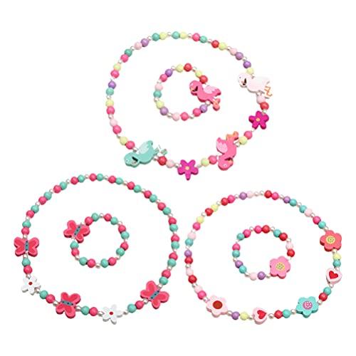 TOYANDONA Collar de Madera para Niñas Pulsera de Cuentas para Niños Joyería Elástica Colorida Juego de Disfraces Fiesta de Cumpleaños Favores de La Creatividad Juguete Divertido Kit de