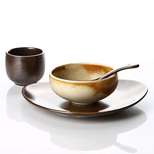 Vajilla cubertería creativa conjunto de restaurante personalizado conjunto vajilla de cuatro piezas conjunto de platos llano de barro conjunto de cuatro