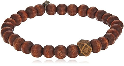 Ettika Men's Brown Wood Stretch Bracelet Large Brass Cornerless Bead