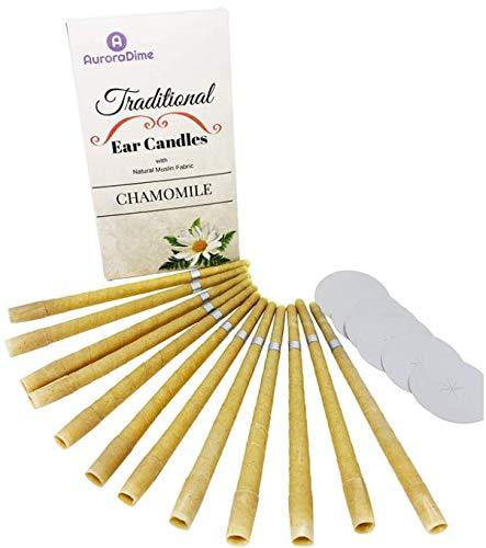 Velas de manzanilla tradicionales para terapia de velas en los oídos y aromaterapia ~ Cera de abeja y muselina de algodón natural ~ Filtros y discos protectores ~ Calmantes, hechas a mano, pack de 12