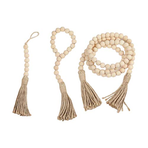 3PCS Wooden Beads String with Tassels for Wedding Birthday Party Decoration