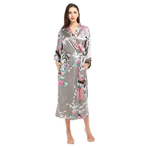 Vrouwen Kimono Robe Long Gewaden Met Pauw En Bloesems Printed Kimono Nachtjapon, Kamerjassen Zijde Satijn Nachtkleding Pyjama Badjas Vrouwen Nightie Nachtkleding (Color : Gray, Size : M)