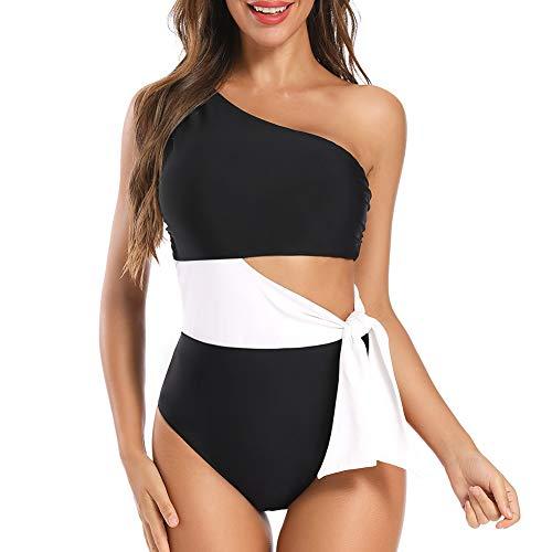 Dixperfect Women's Colorblocked One-Shoulder One-Piece Swimsuit Cutout Beach Bathing Suit (L, Black)