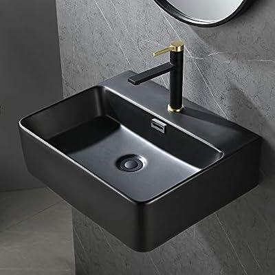 Bathroom Sink,Wall Mount Sink,Black Rectangle Wall Mounted Bathroom Vessel Sink,Modern Floating or Countertop Porcelain Ceramic Washing Bathroom Lavatory Sink