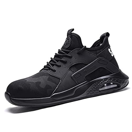 Chaussure de Securite Homme Coussin d'air Baskets de Sécurité Embout Acier Respirant Chaussures de Travail Anti-Perforation