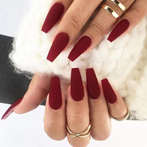 Gorais Coffin Press on Nails Red Medium Fake Nails Matte False Nails Ballerina Full Cover Nails for Women (A red)