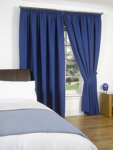 Dreamscene luxe volledig gevoerde paar thermische verduistering potlood plooi gordijnen met Tiebacks, blauw 66X90