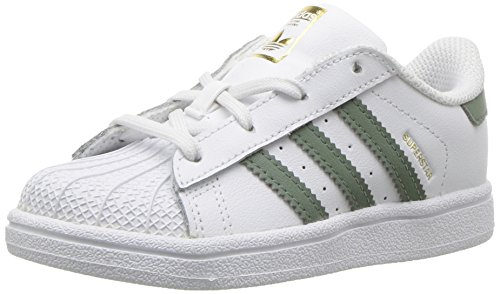 adidas Originals Kids' Superstar Sneaker, White/Trace Green/Gold Metallic, 6K