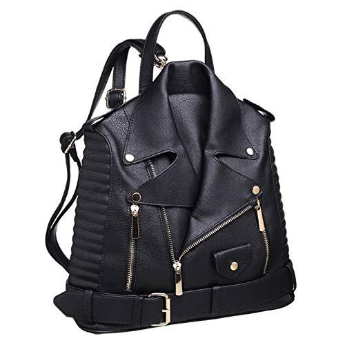 Paula Rossi bolso mochila mujer antirrobo chaqueta casual negro baratos barata elegante grande original polipiel seguro tachuelas vintage (negro)