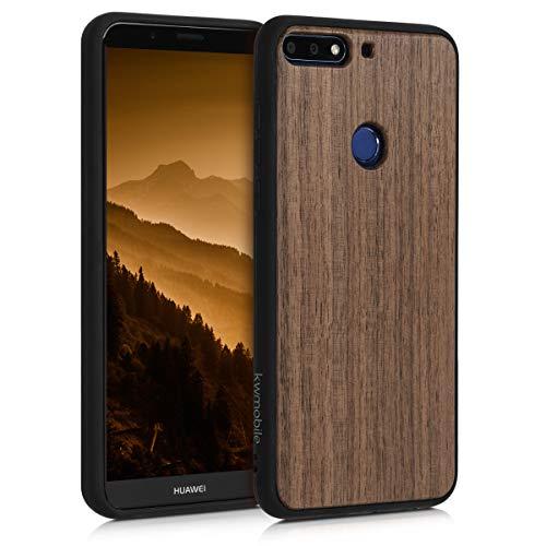 kwmobile Funda Compatible con Huawei Y7 (2018)/Y7 Prime (2018) - Carcasa Protectora de Madera y TPU - Case Trasero marrón Oscuro