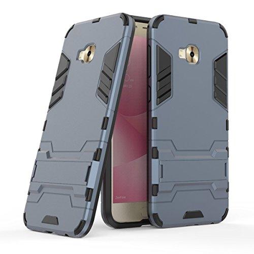 Hülle für Asus ZenFone 4 Selfie Pro ZD552KL (5,5 Zoll) 2 in 1 Hybrid Dual Layer Shell Armor Schutzhülle mit Standfunktion Hülle (Blau Schwarz)