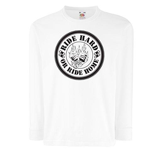 N4688D Kinder-T-Shirt mit Langen Ärmeln Ride Hard! Biker Clothing (9-11 Years Weiß Mehrfarben)