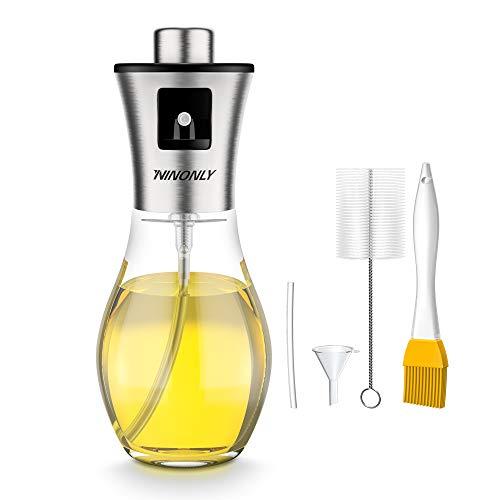 200ML Pulverizador Aceite Ninonly Pulverizador Spray Oliva Aceite Recargable Botella con 2 Pinceles y 1 Embudo para Cocinar/Ensalada/Hornear Pan/BBQ/Cocina