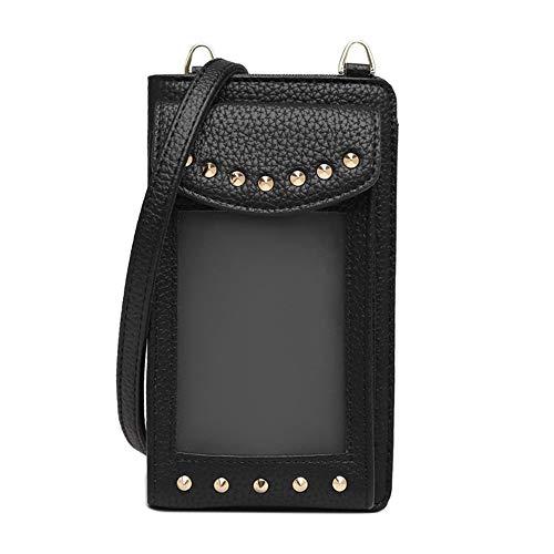 Vmokki Funda para móvil de hasta 6,5 pulgadas con tarjetero transparente para mujer, bolso de hombro pequeño, piel sintética Negro Negro talla única