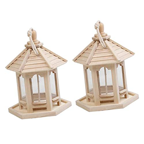 Amuzocity 2Pcs Garden Hanging Wood Bird Feeder Gazebo Lantern Wood Pavilion Para Patio