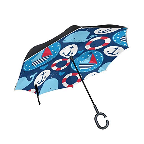 VVIEER with C Handle Reverse Inverted Umbrella Cartoon Boats Whales Cars Double Layer Best