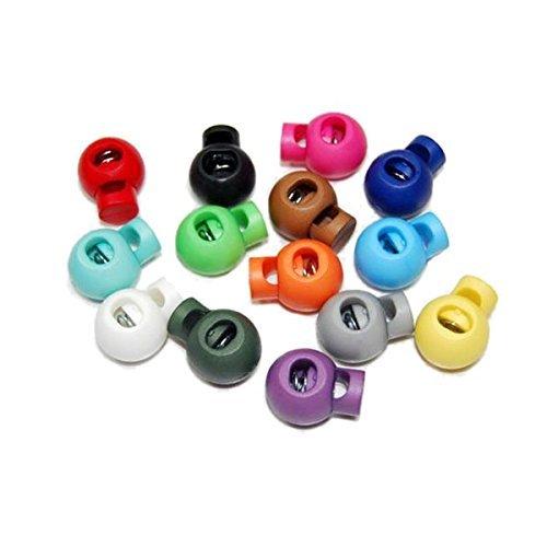 Pixnor Kordelstopper, rund, Kugel Wippe, Kunststoff, zufällige Farbauswahl, 25Stück