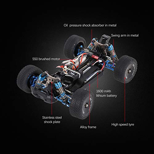 Goolsky F16 1/14 RC Car Legierungsrahmen 4WD Offroad Car 60 km / h Hochgeschwindigkeits-Rennwagen 1600 mAh Batterie 2,4 GHz RC Buggy Drift Car