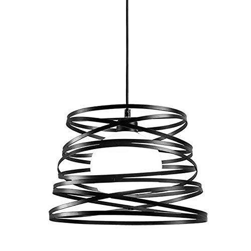 Lámpara de techo industrial retro, Lámpara Colgante Metal Forma de Primavera, Cuerda ajustable, pendiente de la luz de hierro forjado Colgando para el dormitorio Sala Comedor, Negro