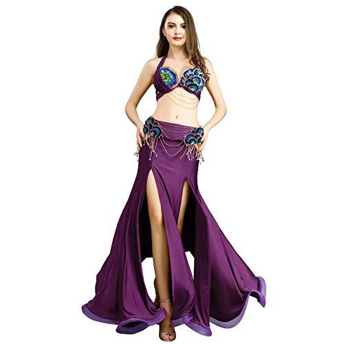 ROYAL SMEELA Traje de Danza del Vientre Top Falda Danza del Vientre Faldas largas pr/áctica Rendimiento Maxi Tops Falda de Flamenca Ropa Mujer Disfraces sexys Mujer
