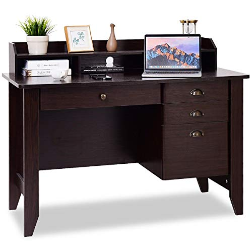 Tangkula Computer Desk, Home Office Desk, Wood Frame Vintage Style Student Table with 4 Drawers & Bookshelf, PC Laptop Notebook Desk, Spacious Workstation Writing Study Table (Brown)
