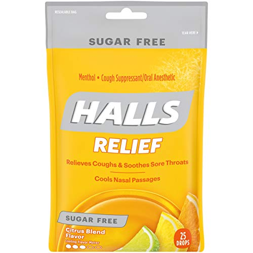 Halls Citrus Sugar Free Cough Drops - with Menthol - 300 Drops (12 bags of 25 drops)