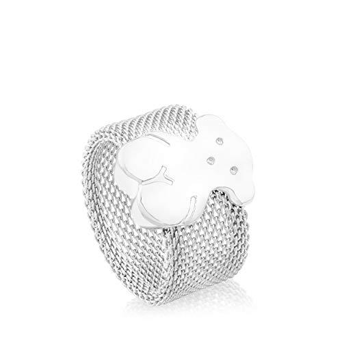 TOUS Anillo mujer Icon Mesh de plata primera Ley, talla 11,5, Ancho 1 cm, Diseño muy ligero