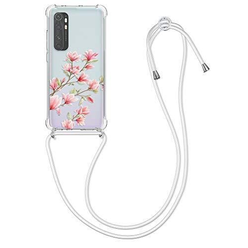 kwmobile Funda con Cuerda Compatible con Xiaomi Mi Note 10 Lite - Carcasa de TPU con Colgante Magnolias Rosa Claro/Blanco/Transparente