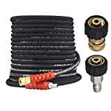 M MINGLE Pressure Washer Hose 50 Feet X 3/8 Inch, High Tensile Wire Braided, with 2 Quick Connect Kits, Compatible M22 14mm and M22 15mm, 4000 PSI