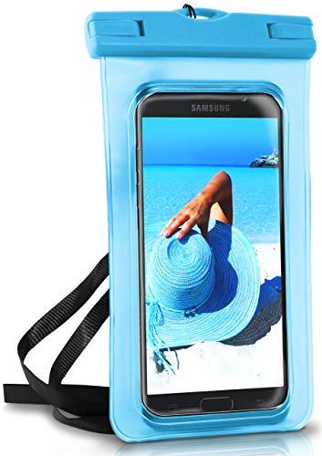 ONEFLOW® wasserdichte Handy-Hülle für Samsung A + J Reihe | Touch- & Kamera-Fenster + Armband und Schlaufe zum Umhängen, Blau (Aqua-Blue)