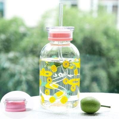 Botella de agua creativa de cristal de frutas simple de 450 ml con pajita de dibujos animados, linda botella de vidrio transparente redonda portátil (capacidad: 450 ml, color: piña)