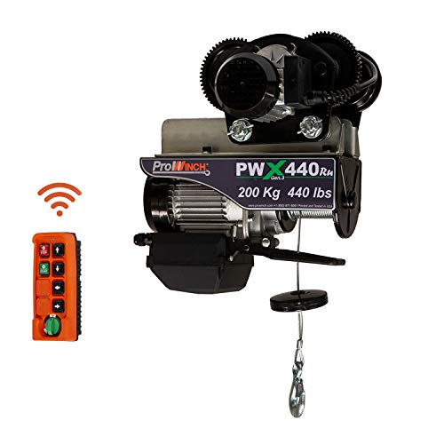 Prowinch PWX440Ru 440 lb Electric Wire Rope Hoist with Electric Trolley Load Capacity Crane with Wireless Remote Control System Overhead Garage Ceiling Winch 110V