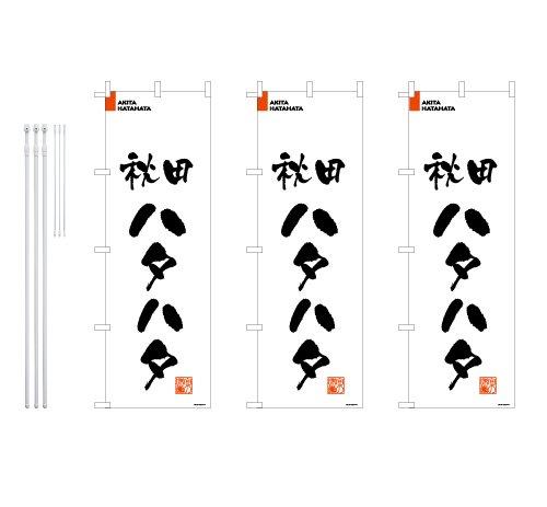 デザインのぼりショップ のぼり旗 3本セット 秋田ハタハタ 専用ポール付 レギュラーサイズ(600×1800) 標準左チチテープ BAK213