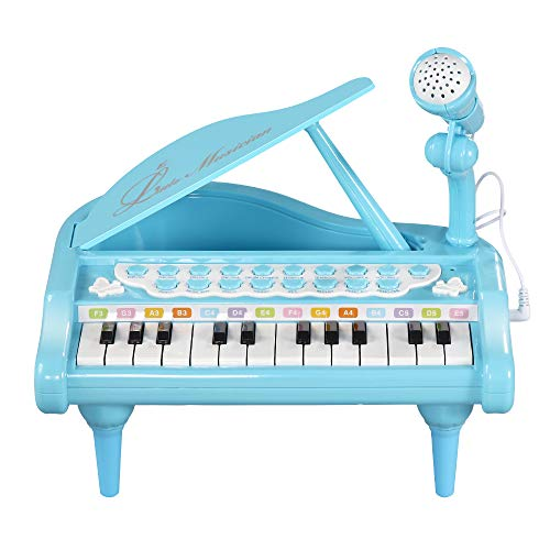 LUXJET Baby Piano Keyboard Toy for Toddler Girls Boys First Birthday Gift, 24 Keys Multifunctional Music & Sound Kids Piano Set for 1 2 3 4 Years Old Children