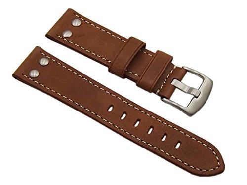 myledershop Reloj 22mm cuero del becerro de la correa de banda en Vintagelook Con Remaches En Con Hebilla En para