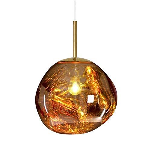 CCVV Moderna lámpara Colgante de Cristal de Lava, Forma Irregular, para habitación, Bar, decoración (Bombilla no incluida), Dorado, 30 cm