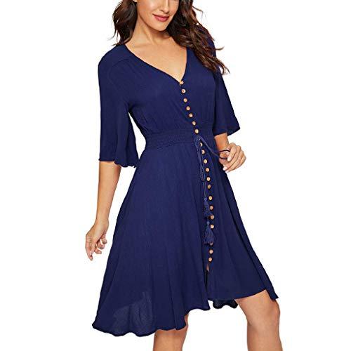 Sommerkleid Mode einfarbig elastische Taille Frauen Kleid V-Ausschnitt elastische Taille dünnes Knopfkleid Sonojie