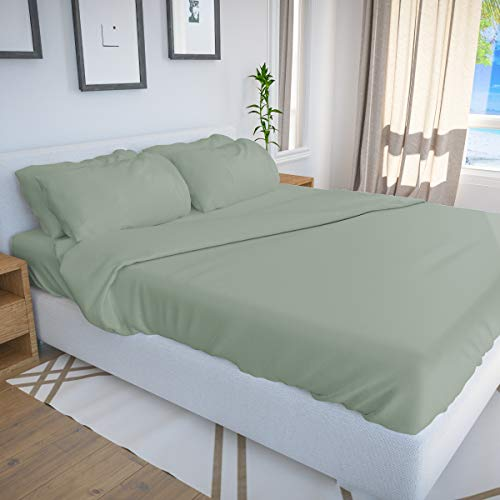 Bamboo Bay 6-Piece Bamboo Sheet Set - Soft as Eucalyptus Sheets (7 Colors) - Soft, Breathable & Cooling 100% Viscose from Bamboo - Extra Deep Pocket, No-Slip Fitted Sheet (Queen Size, Sage)