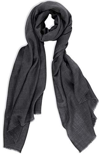 Schal Weich Geschenk Kasten Warm Kashmir Wolle Seide Damen Herren Holzkohle Melange